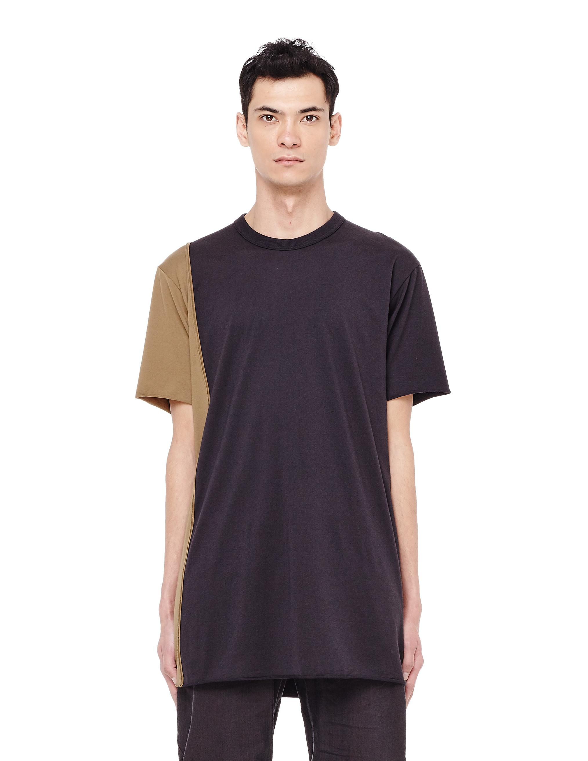 Ziggy Chen Khaki And Black Cotton T-shirt
