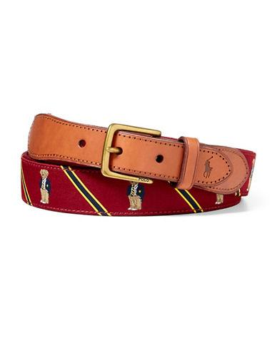 Polo Ralph Lauren Polo Bear Overlay Webbed Belt-burgundy