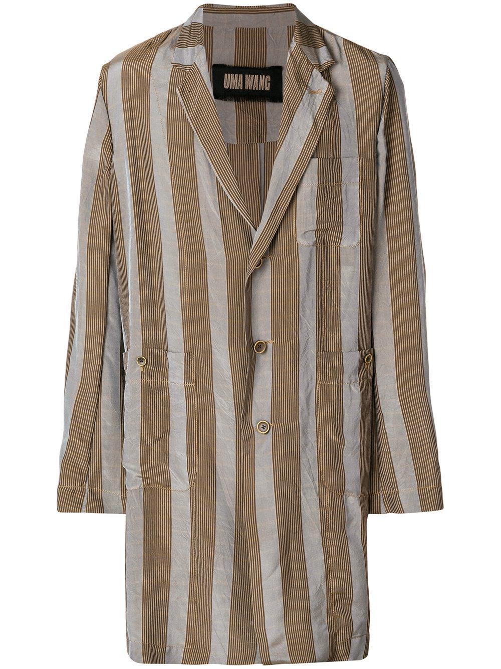 Uma Wang Striped Panel Oversized Coat