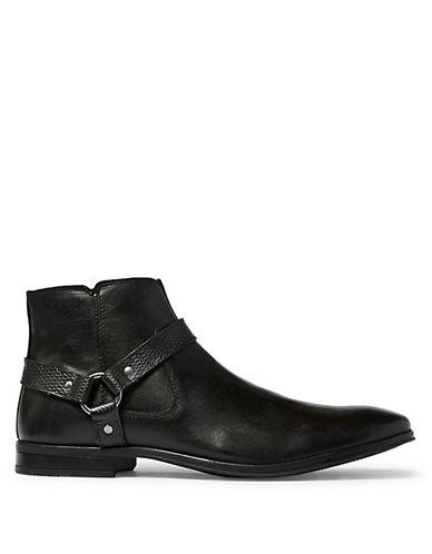 Topman Callay Leather Harness Boots-black