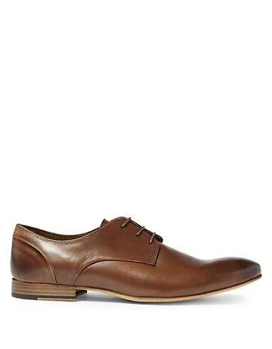 Topman Luther Leather Derby Shoes-brown
