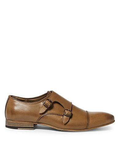 Topman Luther Leather Monk Shoes-brown