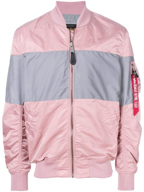 Alpha Industries Colour Block Bomber Jacket In Pink