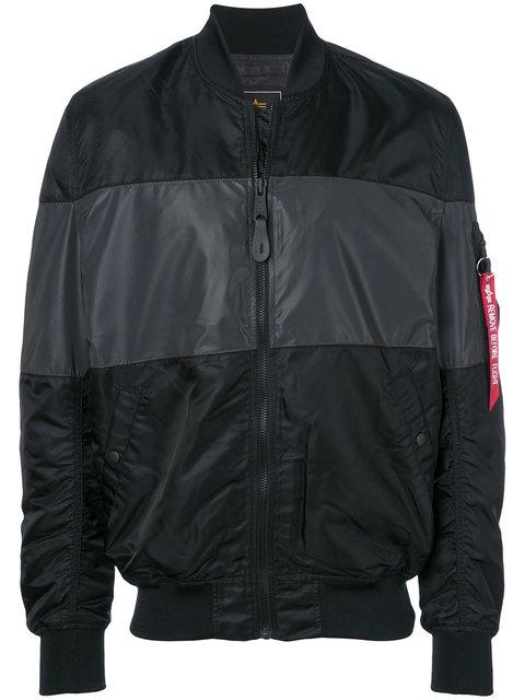 Alpha Industries Zipped Bomber Jacket In Black