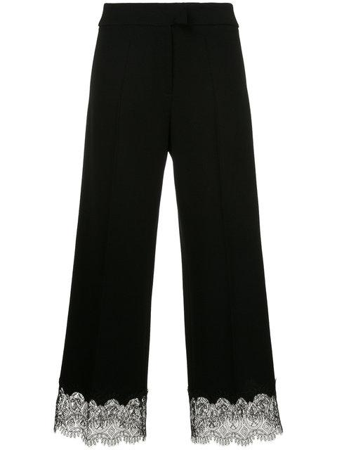 Ermanno Ermanno Lace Hem Cropped Trousers