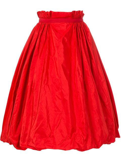 Alexander Mcqueen Taffeta Midi Skirt In Red