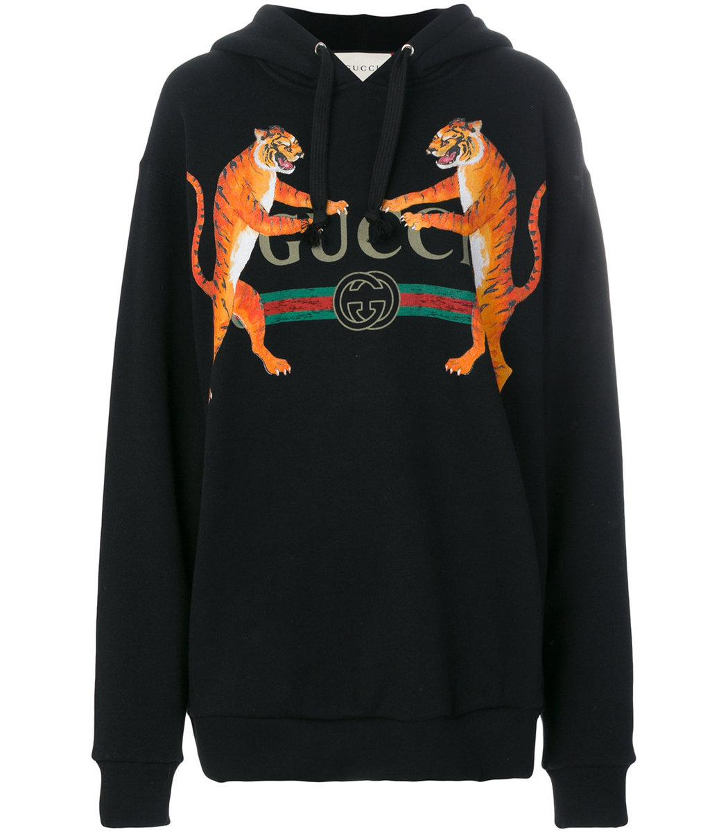 Gucci Logo And Tigers Print Hoodie In Black