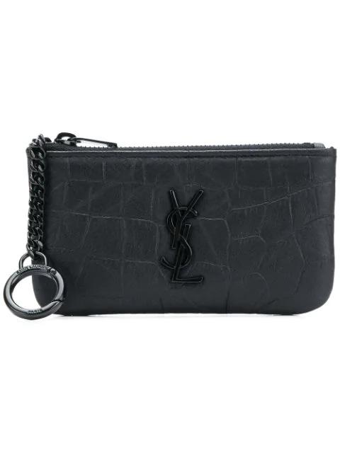 Saint Laurent Logo Zipped Wallet In Black