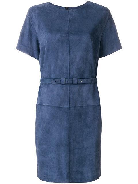 Desa Collection Suede Shift Dress - Blue