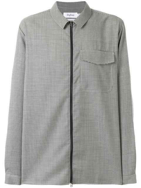 Schnayderman's Schnaydermans Houndstooth Zip-up Shirt - Black