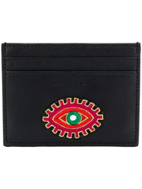 Saint Laurent Eye Embroidered Card Case - Black