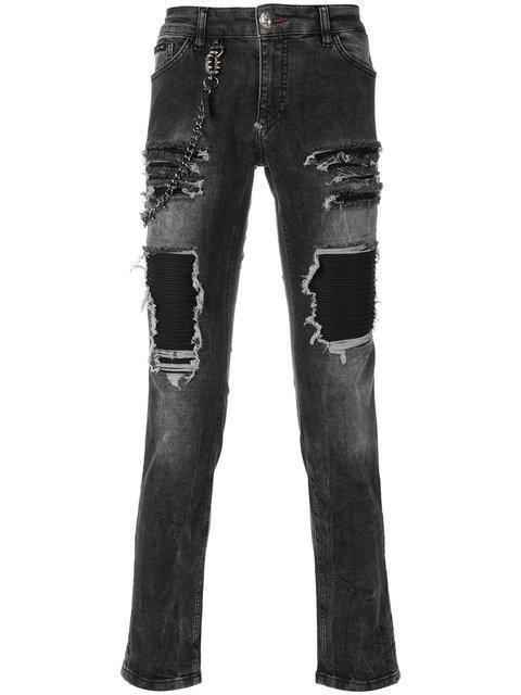 Philipp Plein Ripped Effect Jeans