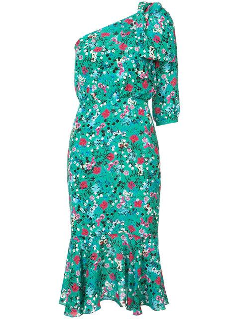 Saloni Green Multicolor Juliet Floral Midi Dress