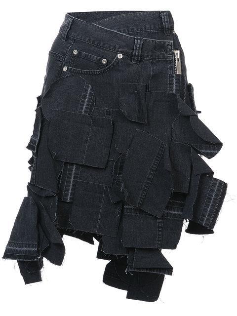 Sacai Applique Mini Denim Skirt