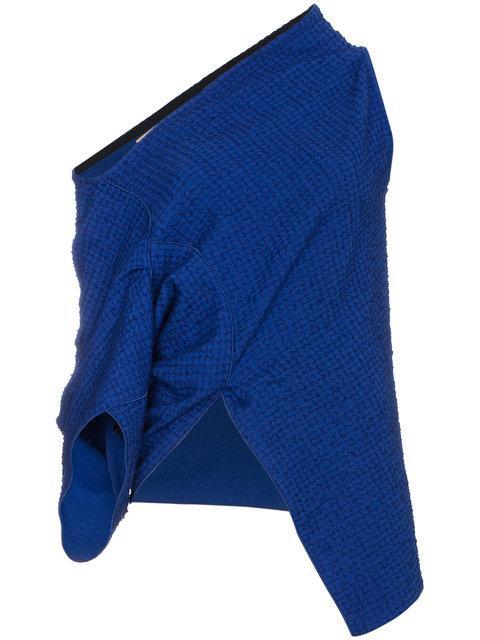 Roland Mouret Asymmetric Cotton And Linen-blend Top In Blue