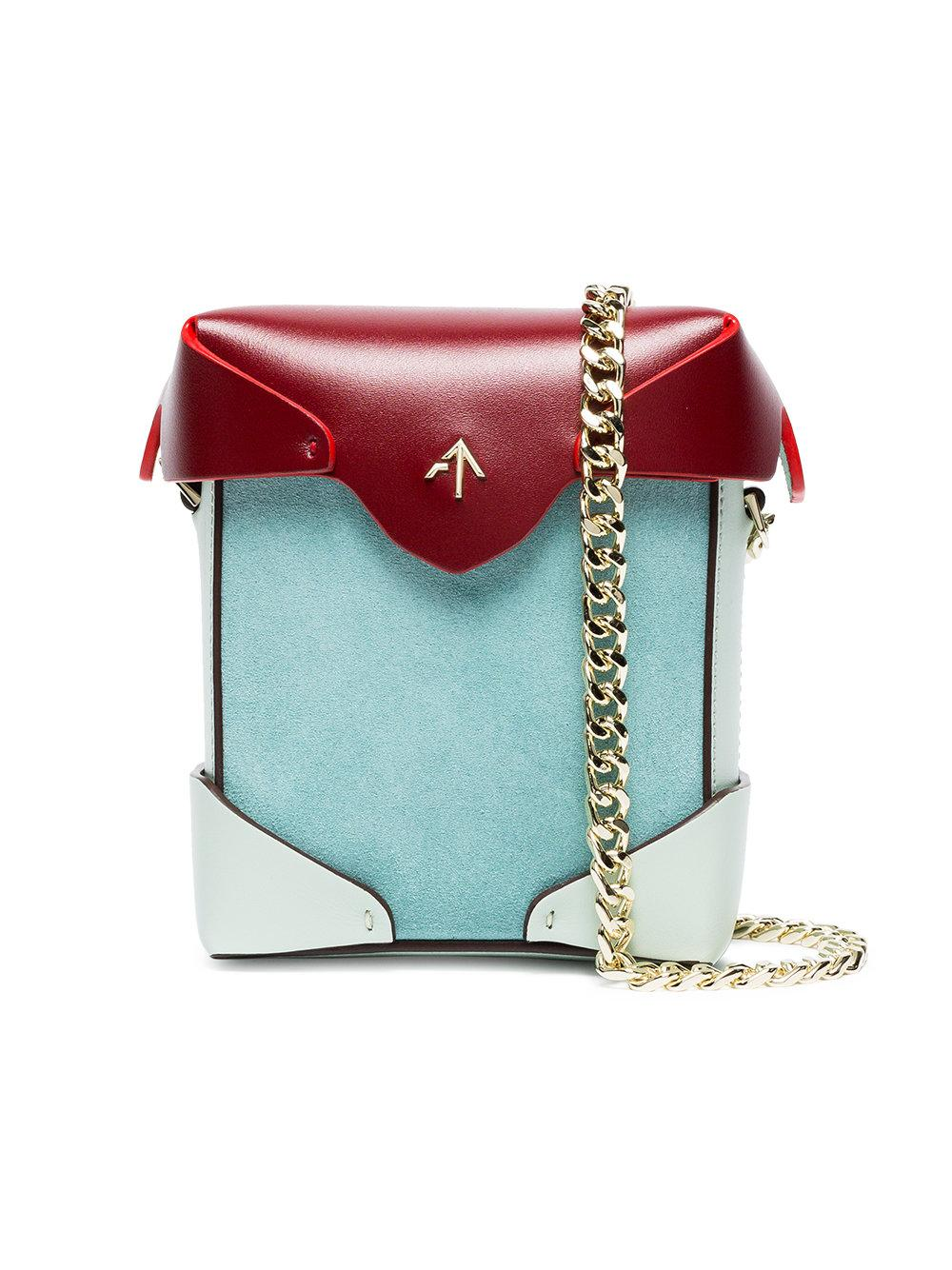 Manu Atelier Multicoloured Pristine Leather Cross Body Bag In Blue