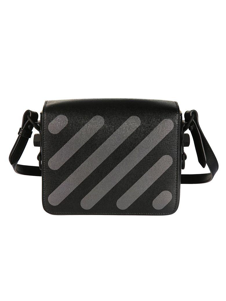 Off-white Black Saffiano Leather Shoulder Bag In Black Black
