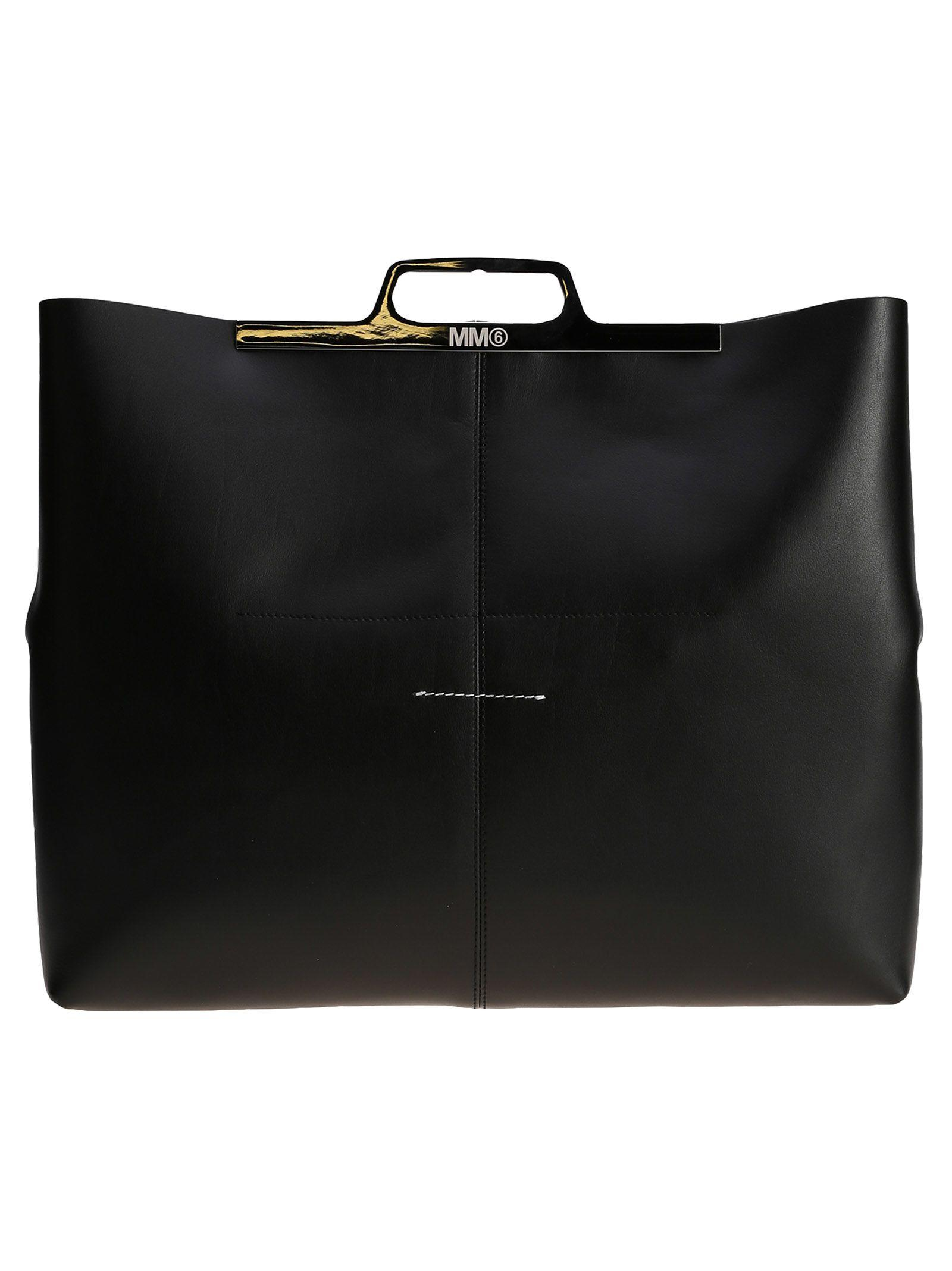Mm6 Maison Margiela Leather Tote In Black