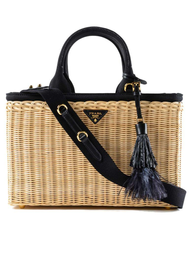 Prada Woven Tote In Brown