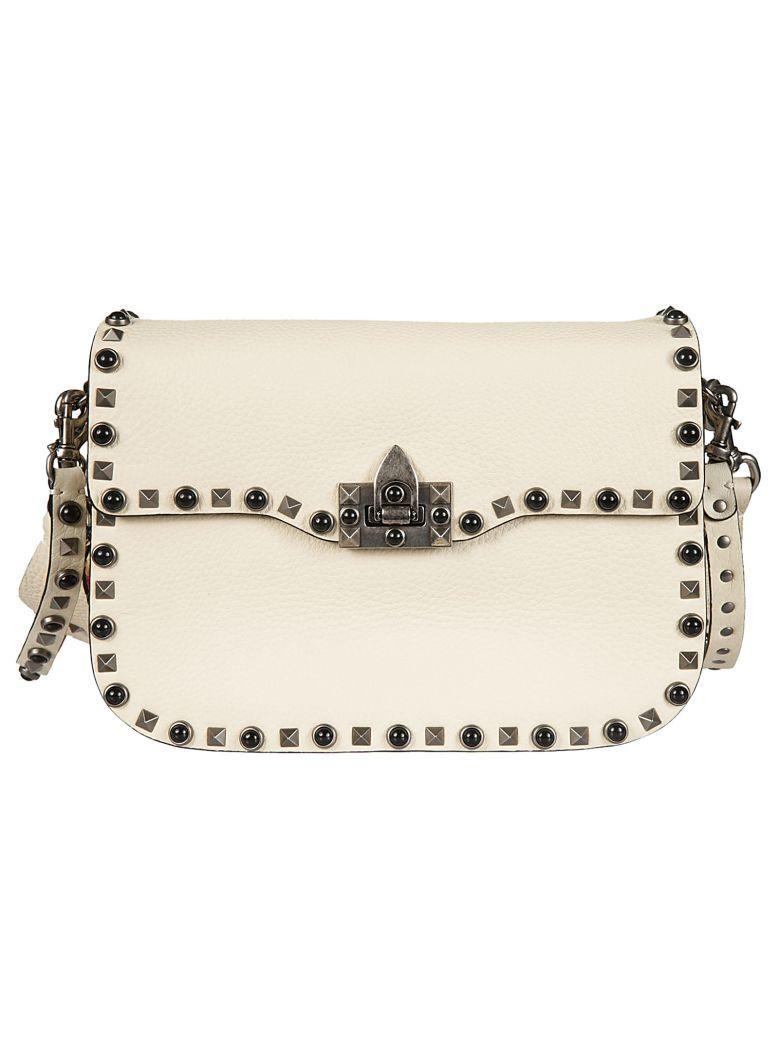 Valentino Garavani Valentino Rockstud Rolling Shoulder Bag In Ilight Ivory