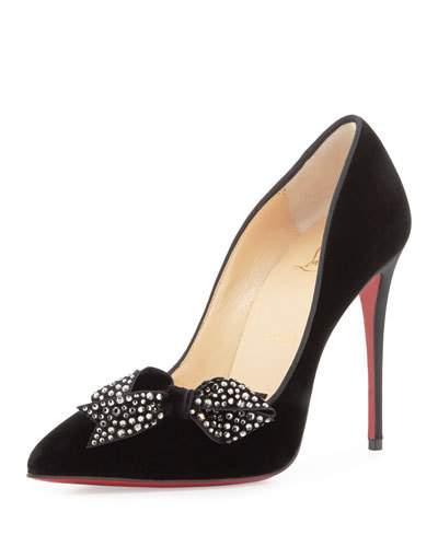 bafcd275e09 'Madame Menule' Embellished Bow Pointy Toe Pump in Crimson