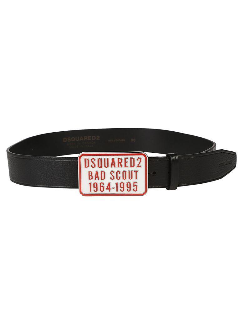 Dsquared2 Plaque Belt In Nero