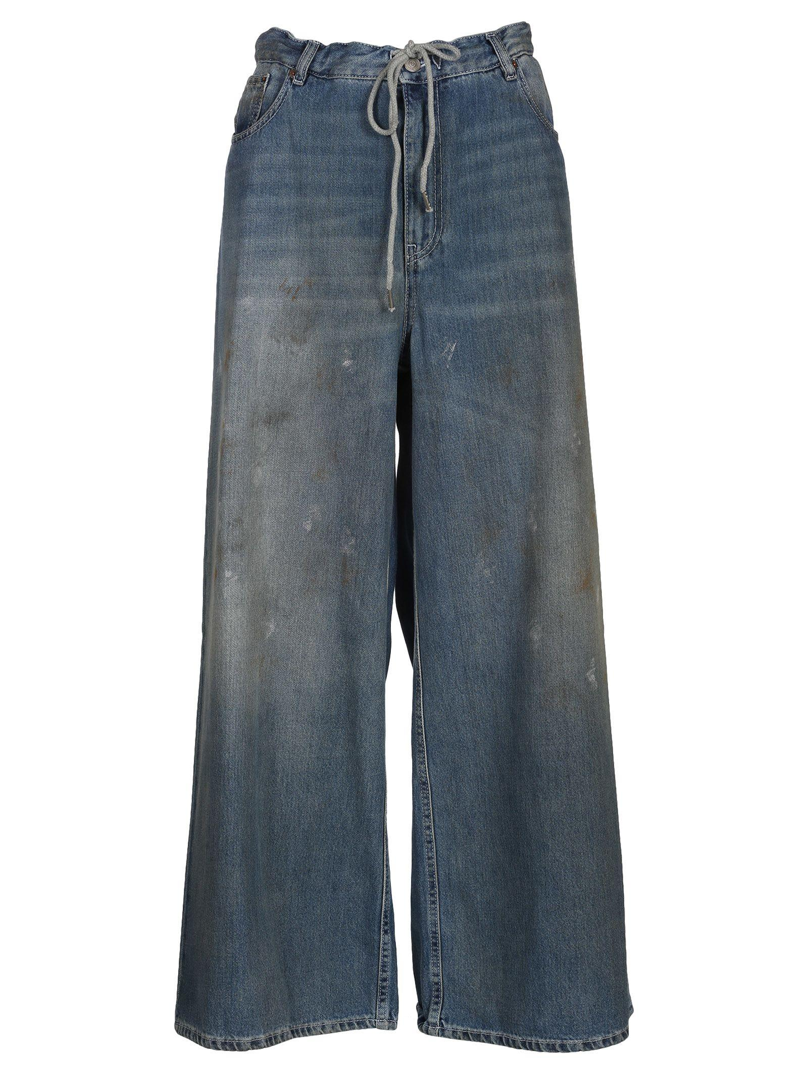 Mm6 Maison Margiela Distressed Oversized Trousers In Indigo Stone
