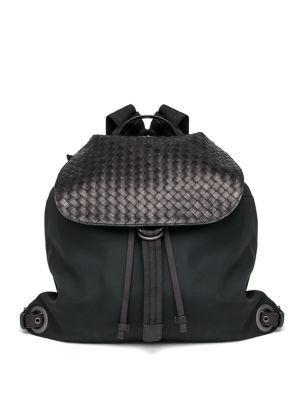 Bottega Veneta Woven Flap Backpack In Black