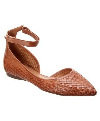 French Sole Poe Leather Flat In Brown