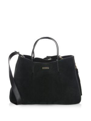 Milly Matte Leather Tote In Black