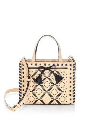 Kate Spade Hayes Street Woven Leather Crossbody Bag In Cashew