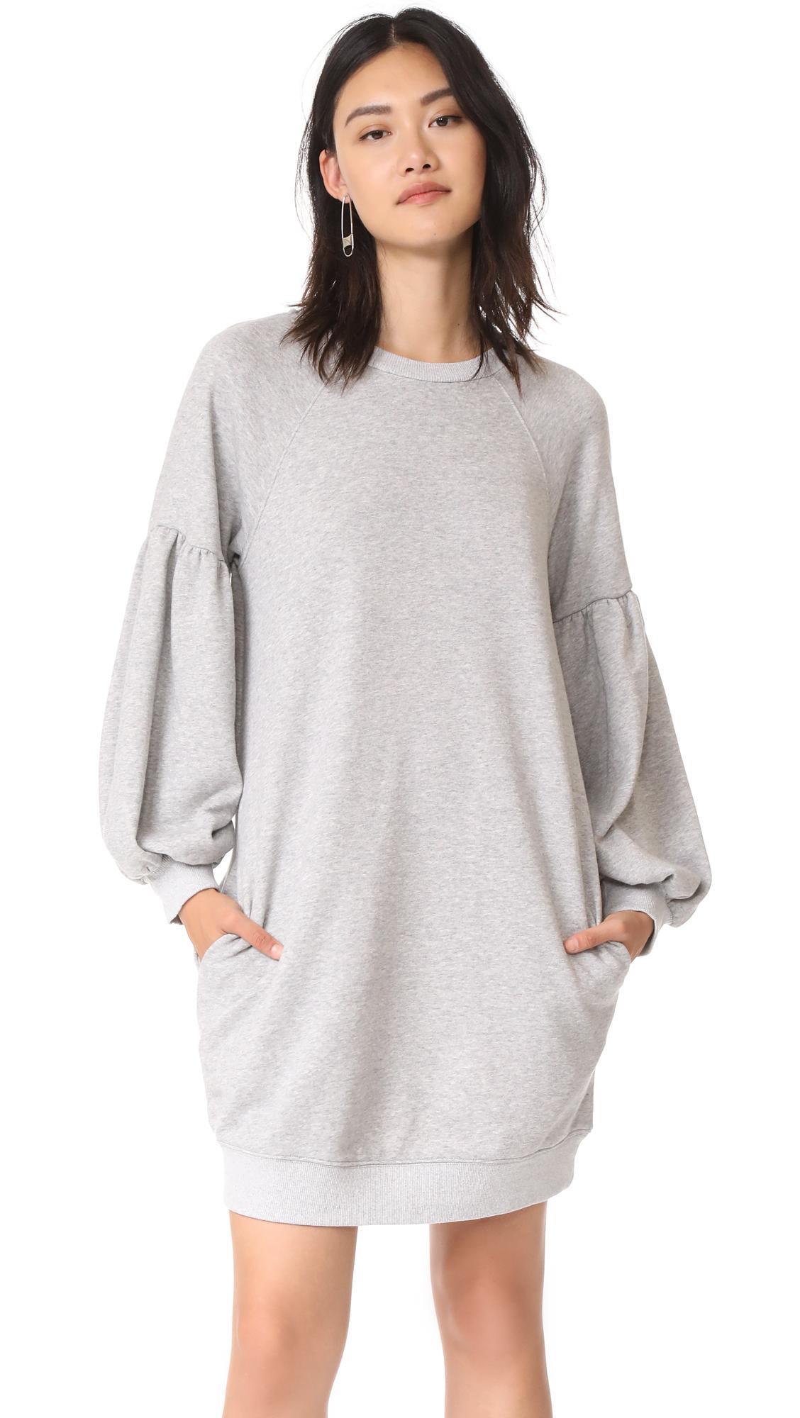 J.o.a. Sweatshirt Dress In Heather Grey