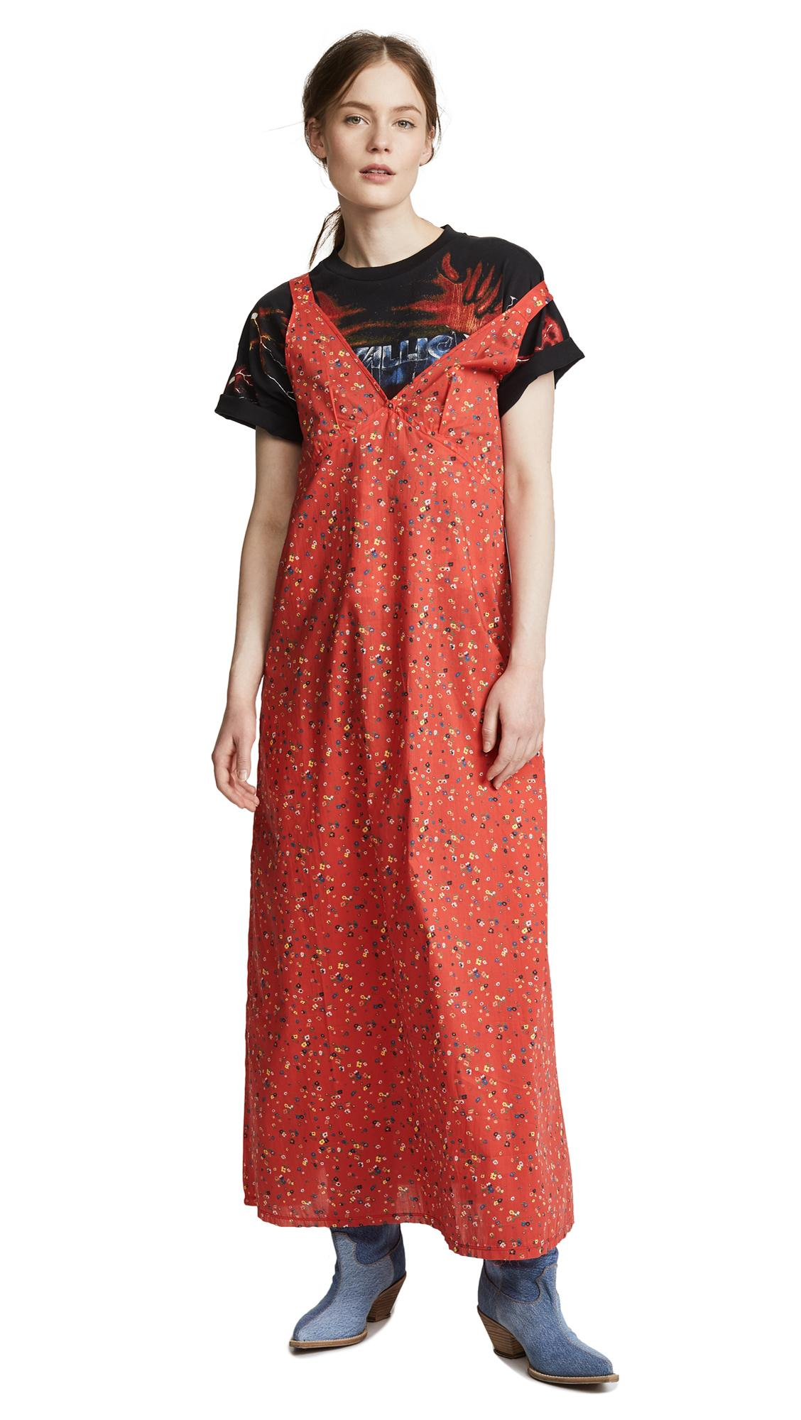 R13 Floral Print Maxi Dress In Red Floral