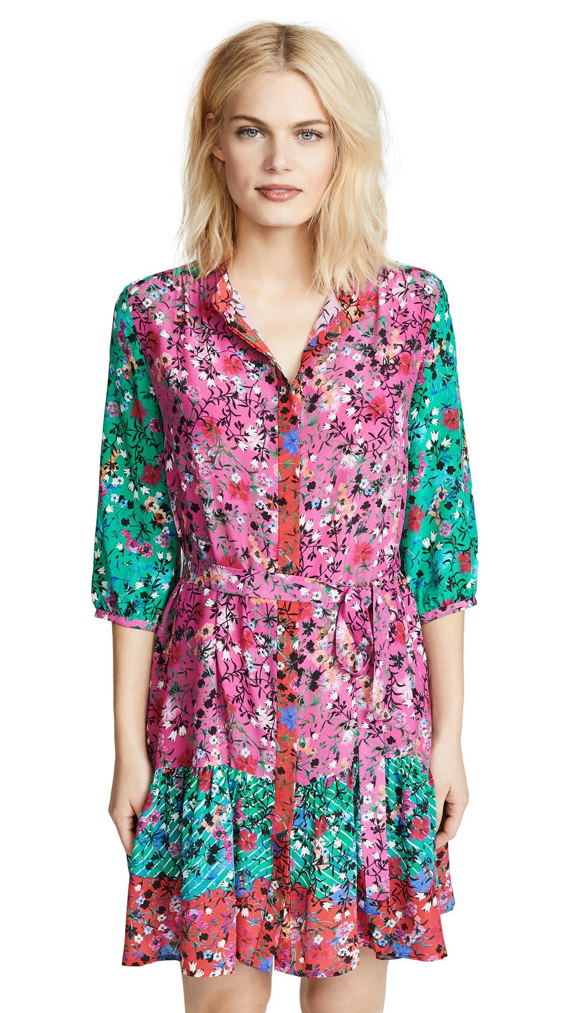 Saloni Tyra Dress In Tie-dye Meadow