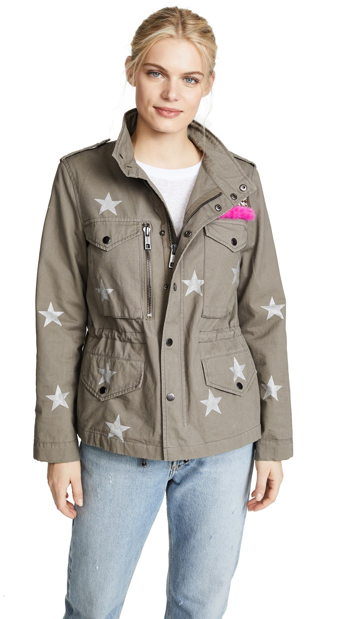 Jocelyn Printed Washed Twill Field Jacket In Hemp With Stars