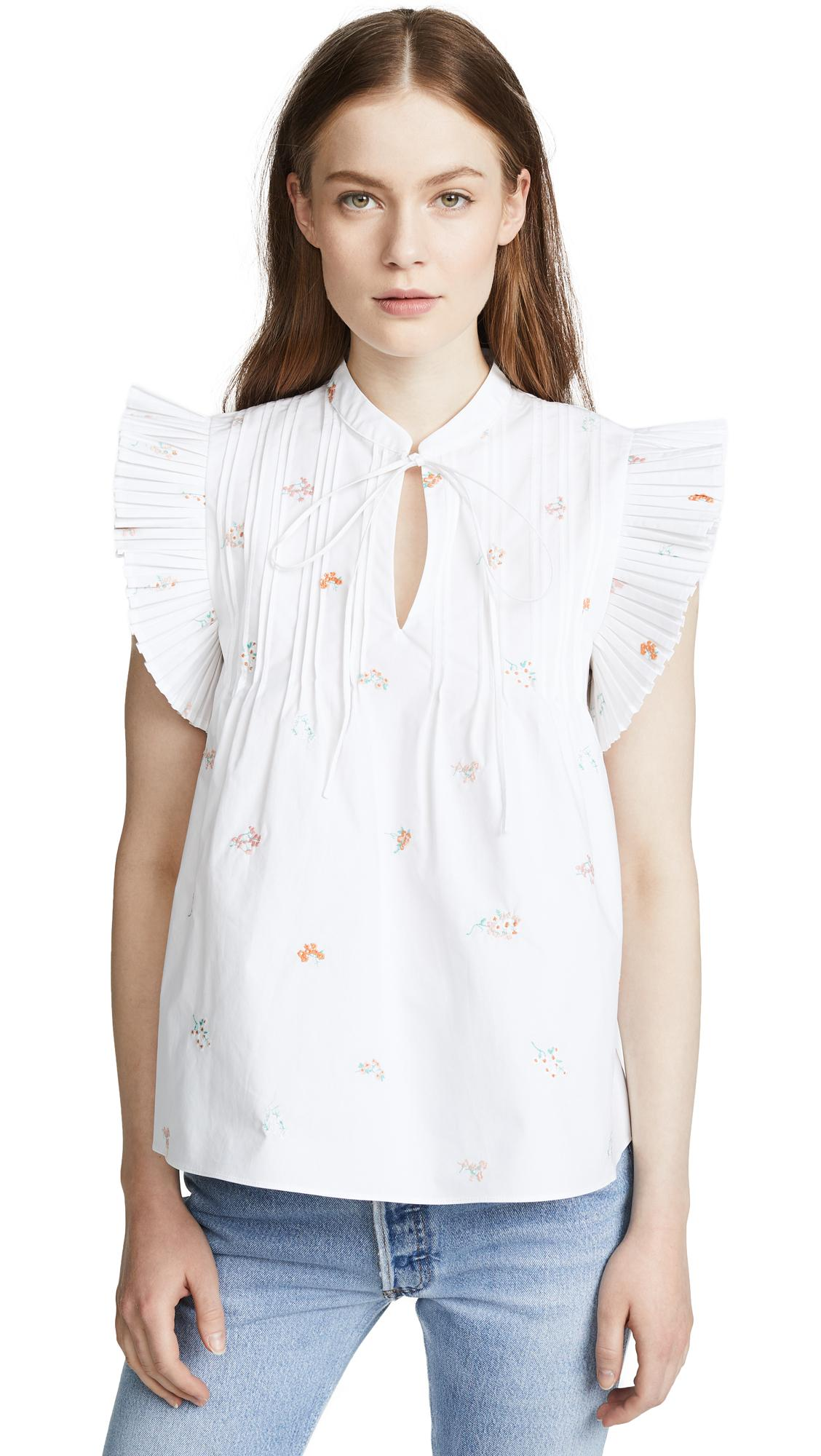 RhiÉ Darci Plise Shirt In Floral Embroidery