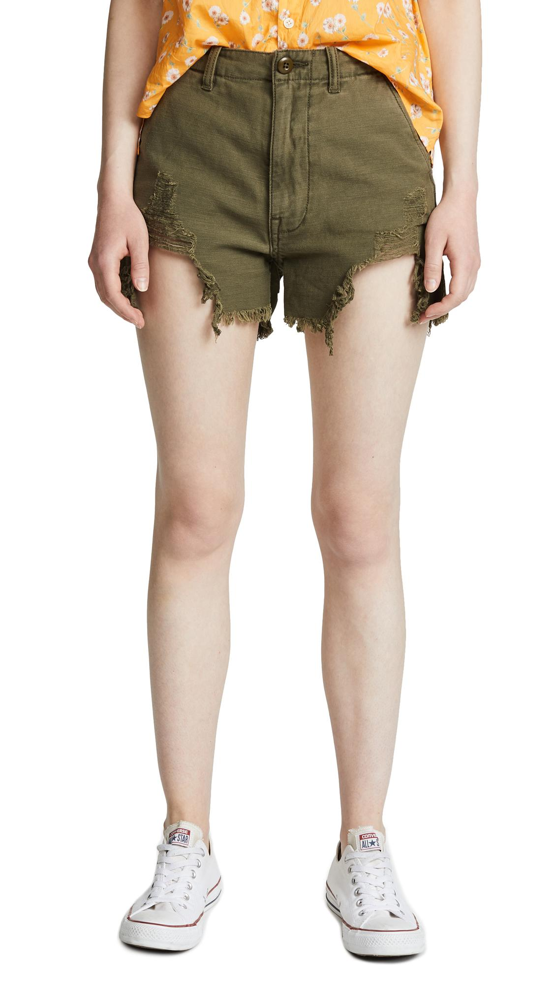 R13 Distressed Camp Shorts In Fatigue Olive