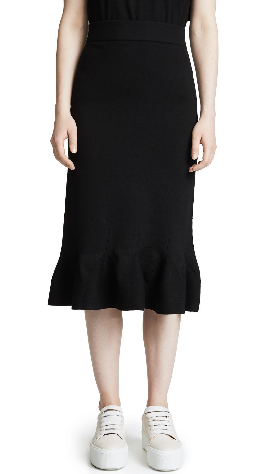 RhiÉ Perry Ruffle Pencil Skirt In Black