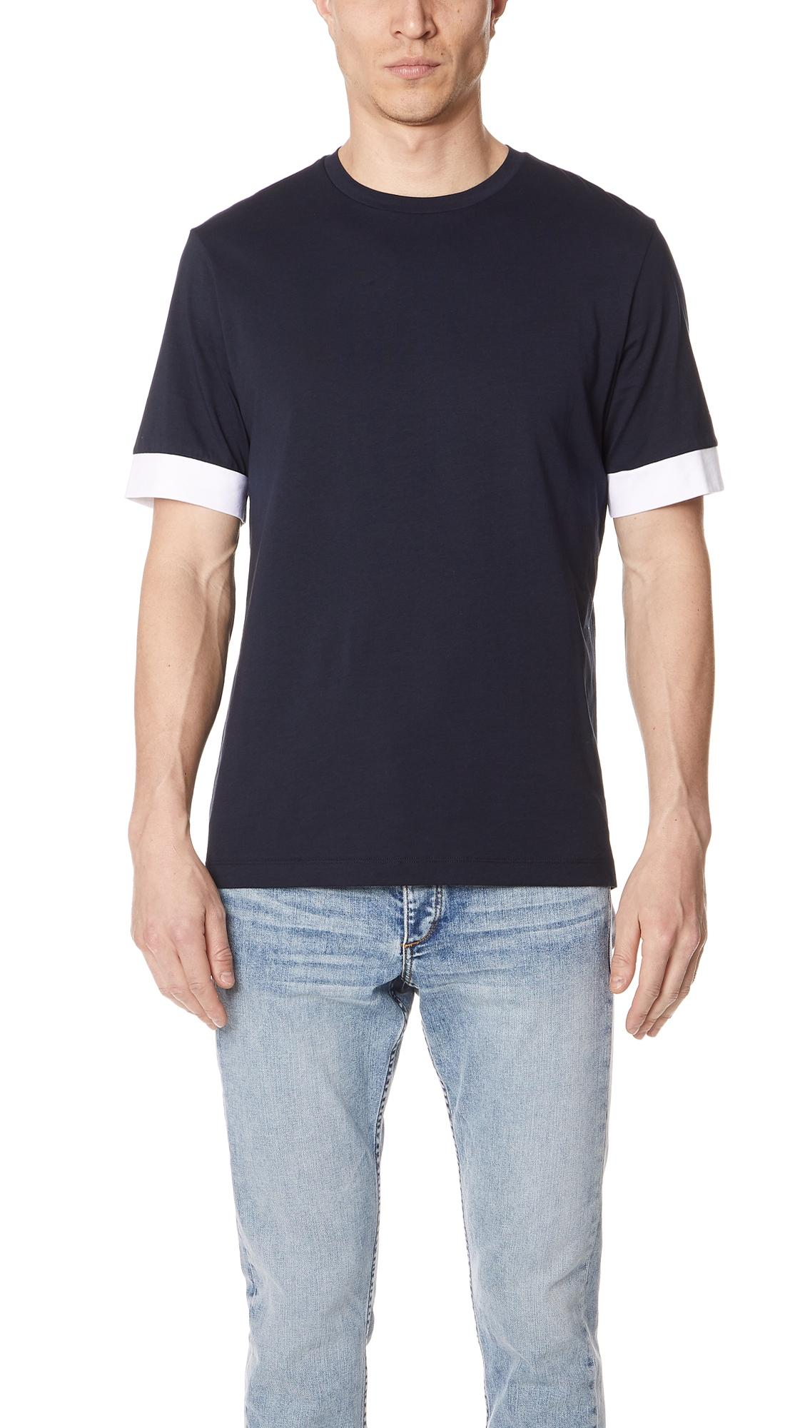 Theory Block Sleeve Tee In Eclipse/white