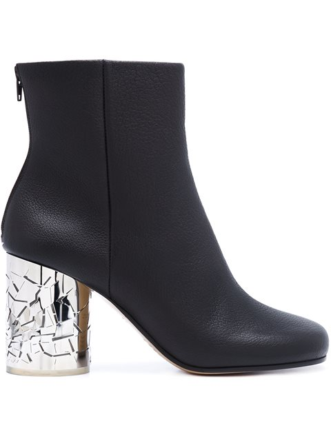 Maison Margiela Shattered Glass Heel Ankle Boots In 900 Black