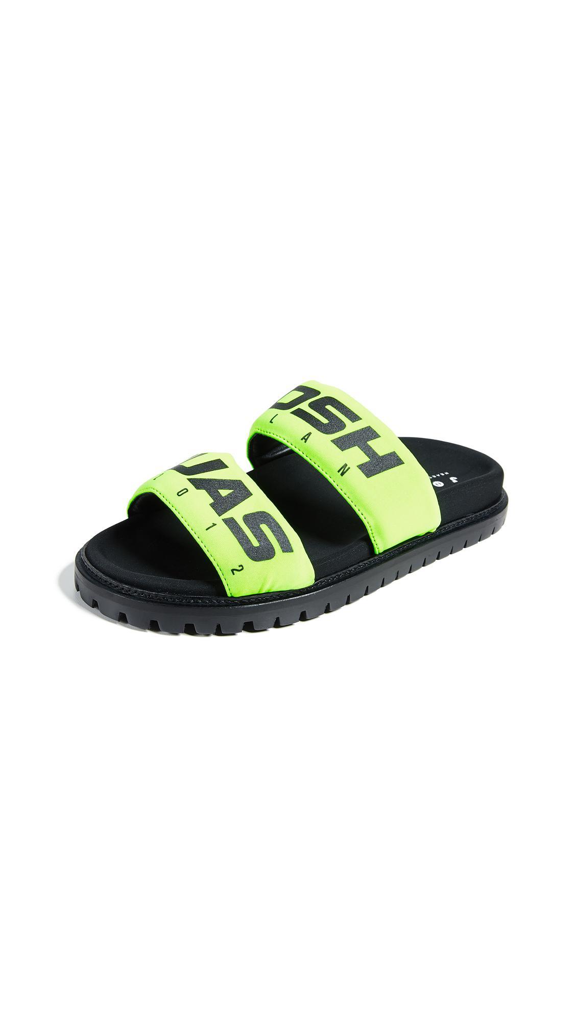 Joshua Sanders Racing Slide Sandals In Yellow Racing