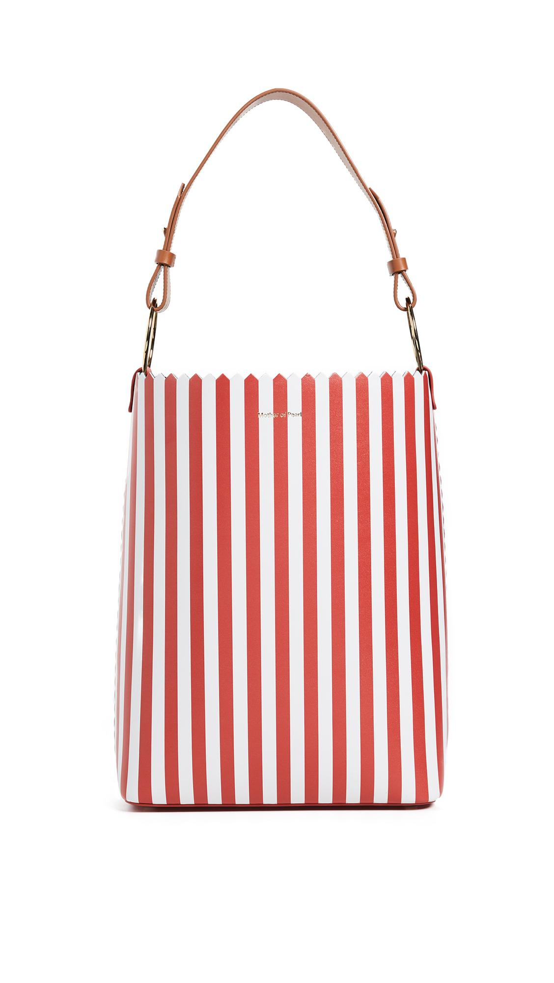 Mother Of Pearl Ora Bucket Bag In Red/white
