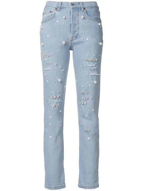 Forte Couture Pearl Embellished Jeans In Denim