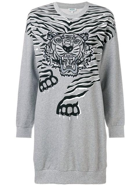 Kenzo Geo Tiger Sweatshirt Dress - Grey