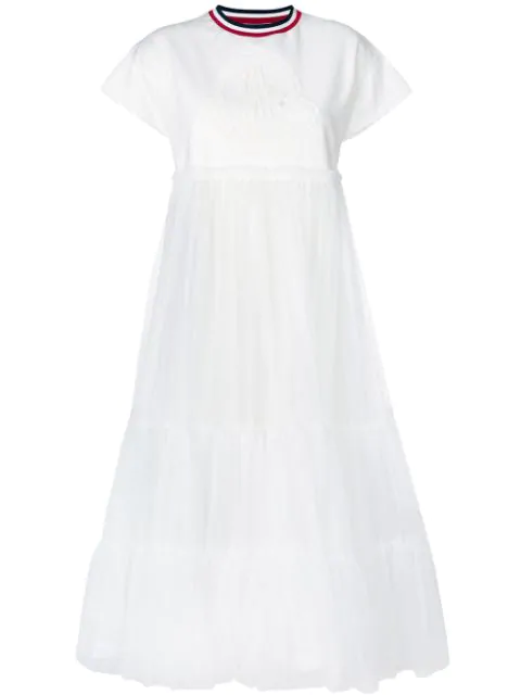 Moncler Gamme Rouge T-shirt Tulle Dress In White