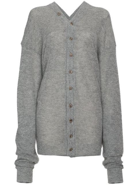 Y/project Y / Project Mohair Wool-blend Knitted Cardigan In Grey