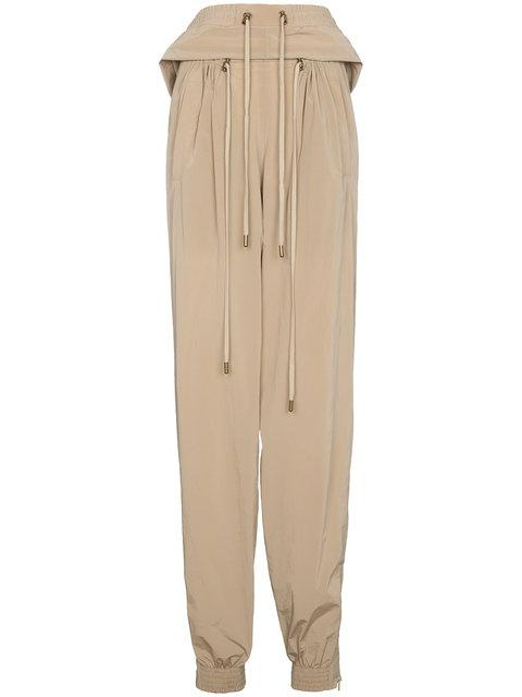 Y/project Y / Project Cropped Track Pants With Double Drawstring - Neutrals