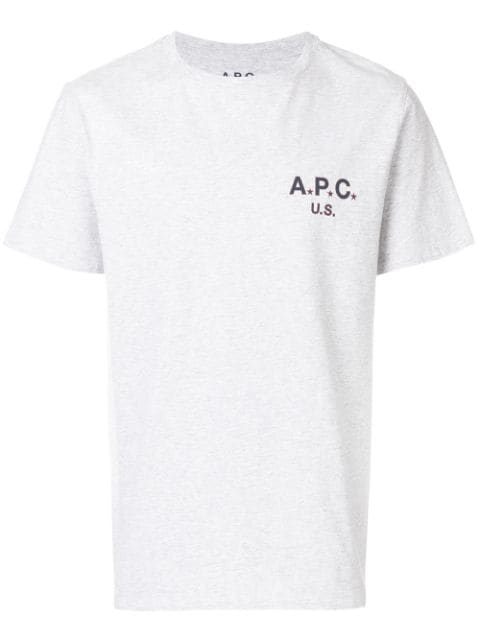 A.p.c. Printed Cotton T-shirt In Grey