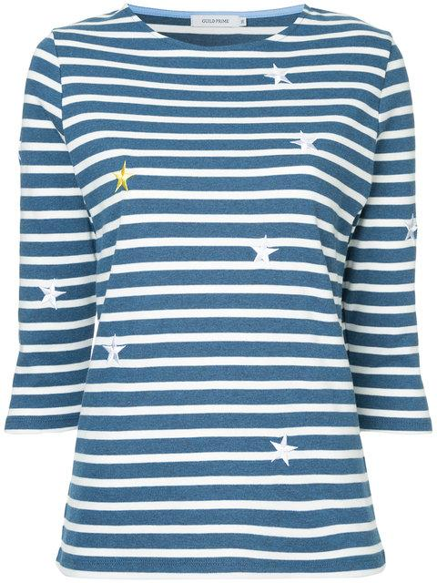 Guild Prime Star Embroidered Striped Top - Blue