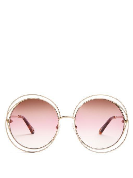 ChloÉ - Carlina Round Frame Sunglasses - Womens - Pink Multi